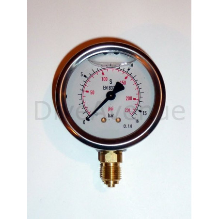 Vertical pressure gauge 0-16bars stainless steel dia. 63mm