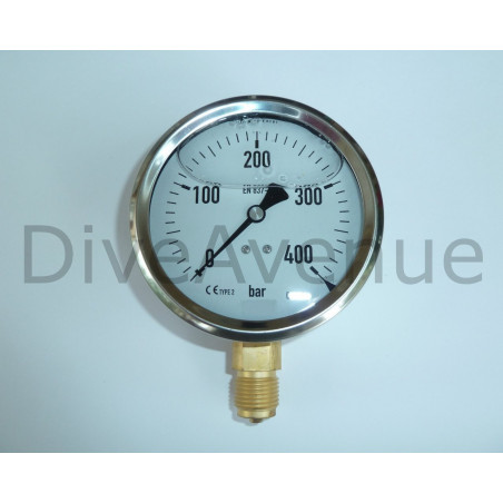 Vertical pressure gauge 0-400bars stainless steel Ø130mm