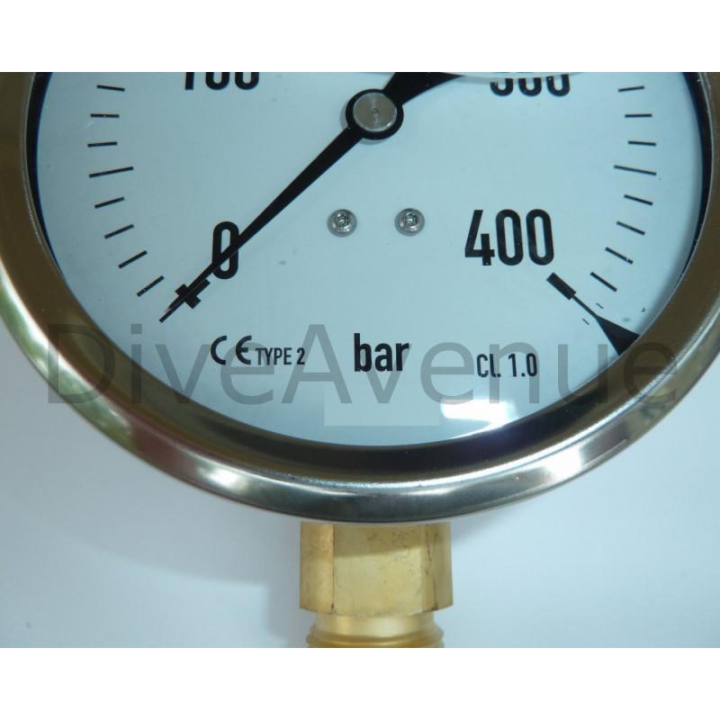 Manomètre vertical 0-400bars INOX diamètre 130mm