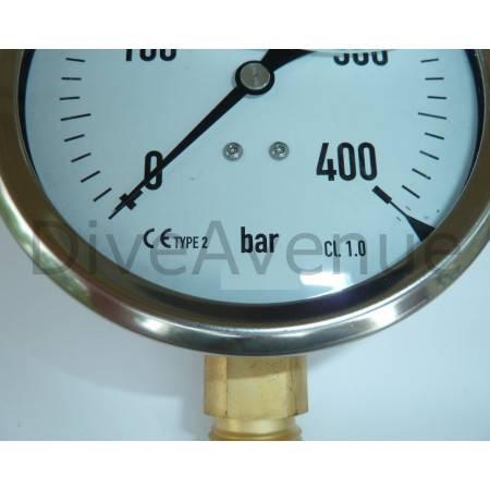 Vertical pressure gauge 0-400bars stainless steel Ø100mm