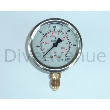 Vertical pressure gauge 0-600bars+PSI stainless steel Ø63mm