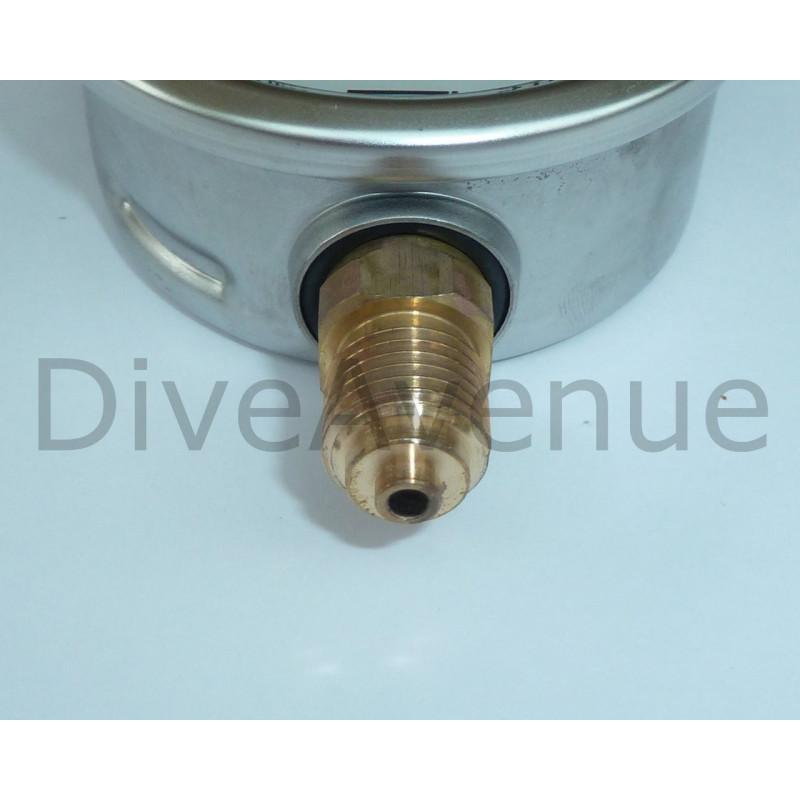 Vertical pressure gauge 0-600bars+PSI stainless steel Ø63mm