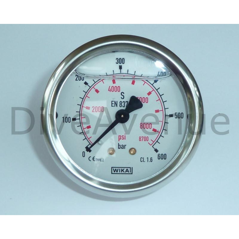 Panel pressure gauge 0-600bars+PSI stainless steel Ø63mm