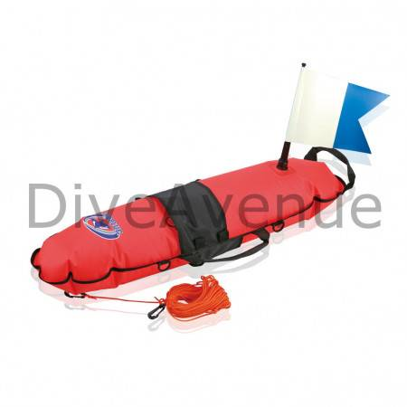 Inflatable surface bouy with alpha flag
