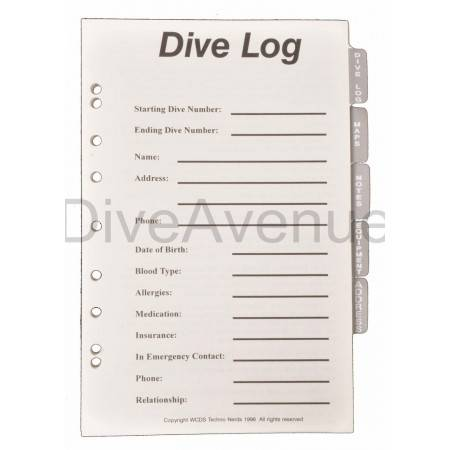 Dive log pages for diving...
