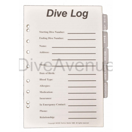 Dive log pages for diving logbook