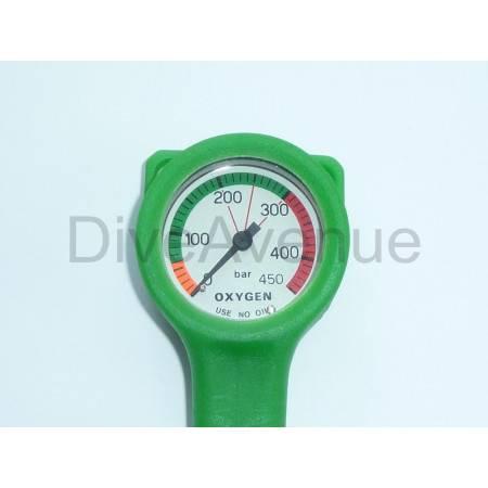 Manomètre oxygène 0-450bars diamètre 52mm flexible 80cm