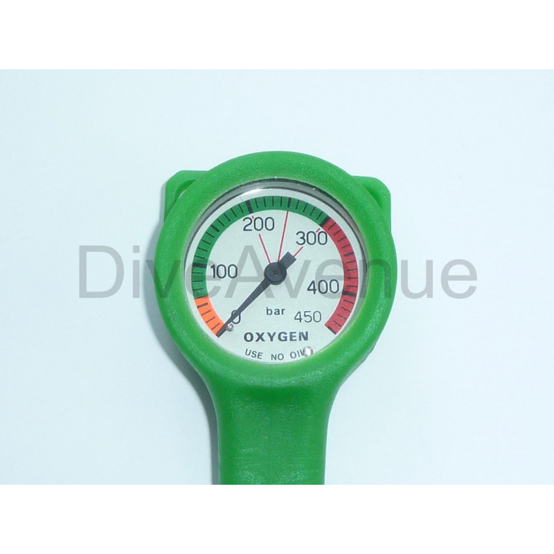Oxygen pressure gage 52mm slim 450 BAR - 80cm hose