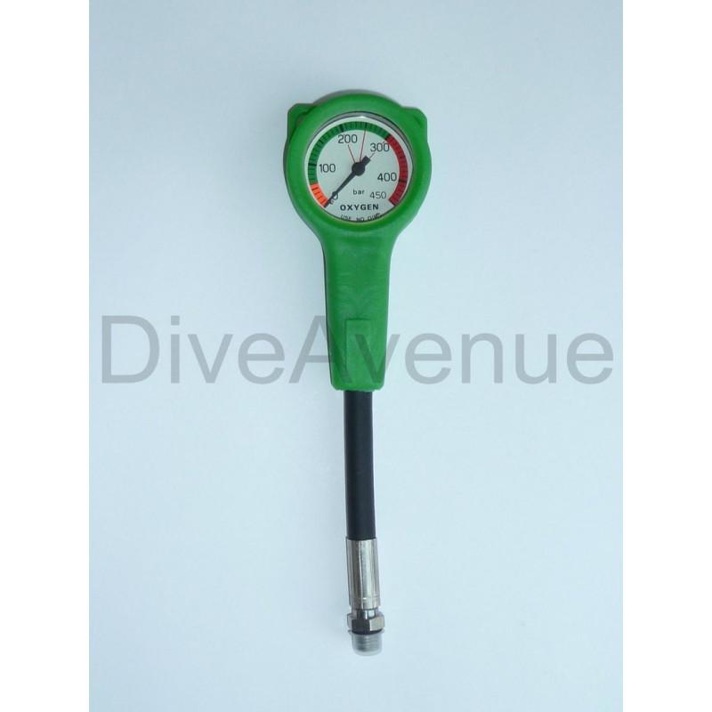 Oxygen Manometer 52mm slim 450 BAR - 15cm hose