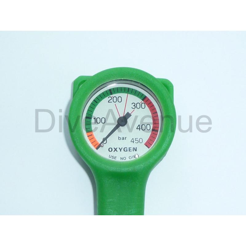 Manomètre oxygène 0-450bars dia. 52mm flexible 15cm