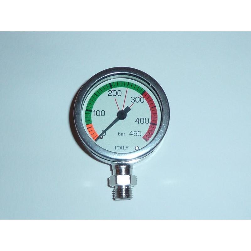 0-450bars underwater pressure gauge mineral glass