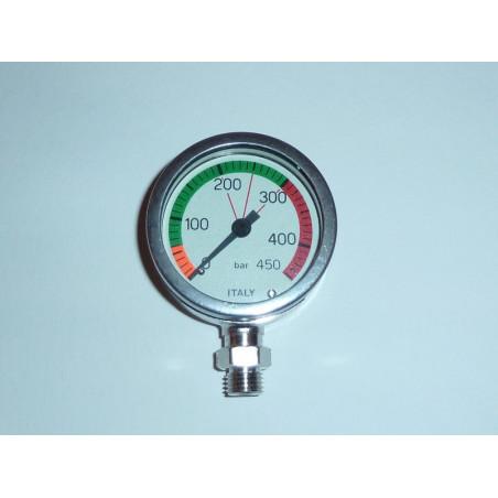 Manomètre 0-450bars immergeable dia 52mm verre mineral