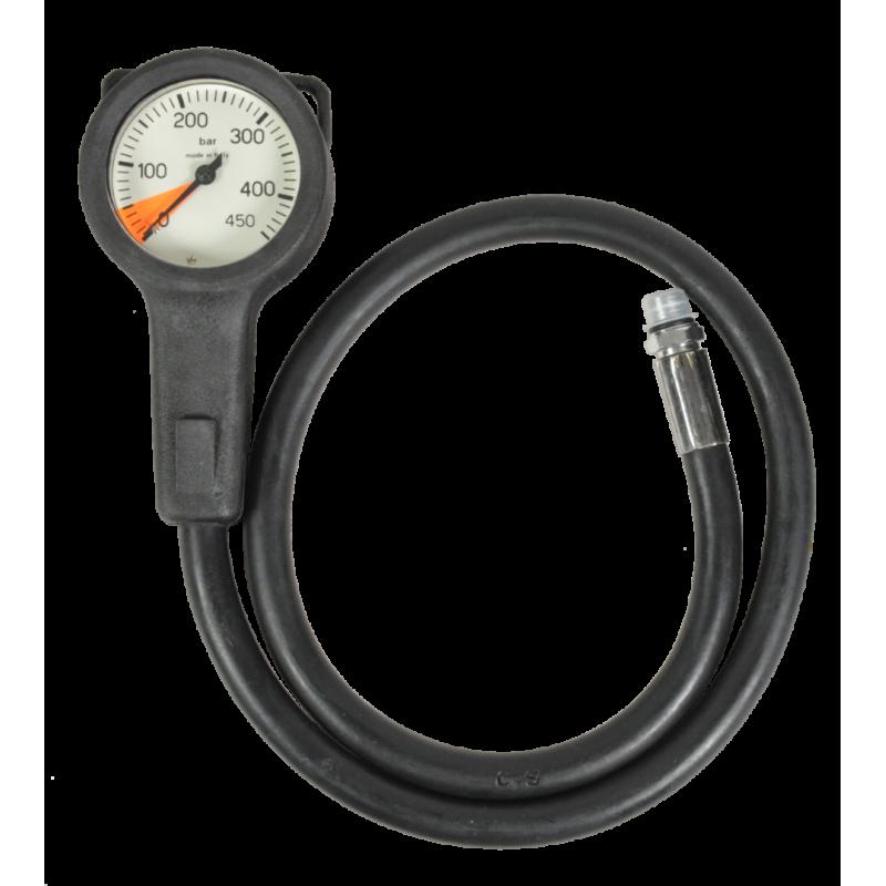 Manomètre air 0-450bars diamètre 63mm flexible 80cm