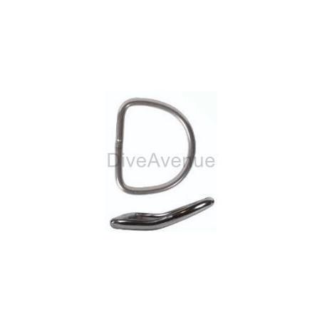 Stainless steel scuba D-ring bended 5cm x 5cm