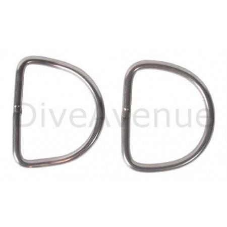 Anneau D-ring plongée inox courbé 5cm x 5cm