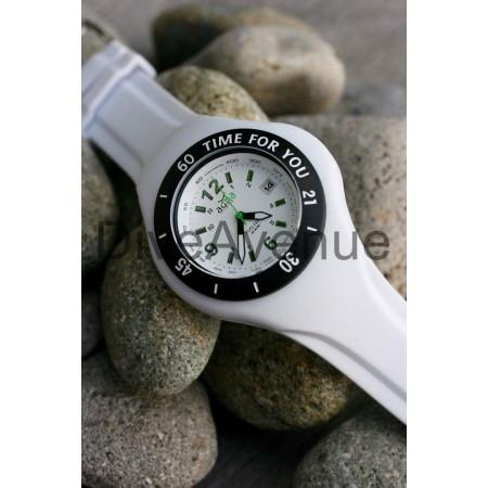 WHITE silicon band A.D.N.A watch