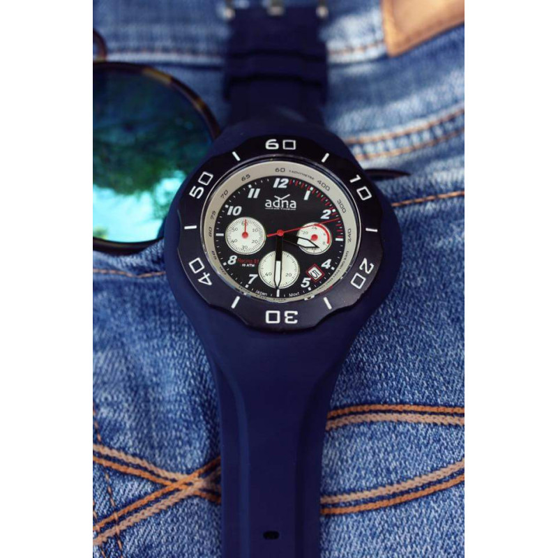 NAVY BLUE silicon band A.D.N.A watch