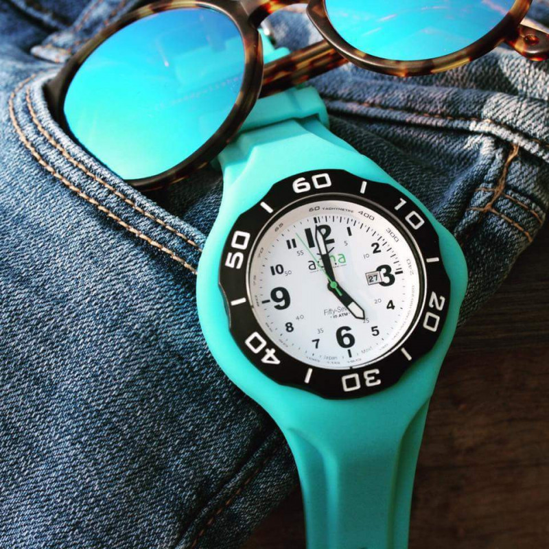 TURQUOISE silicon band A.D.N.A watch