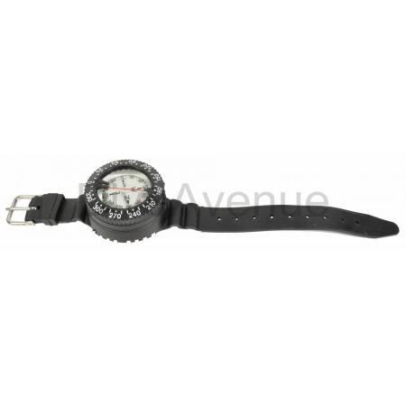Dive wrist compass with rubber bracelet.