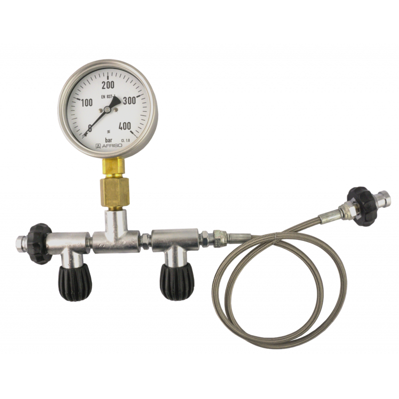 400bar DIN oxygen transfer equalizer w gauge