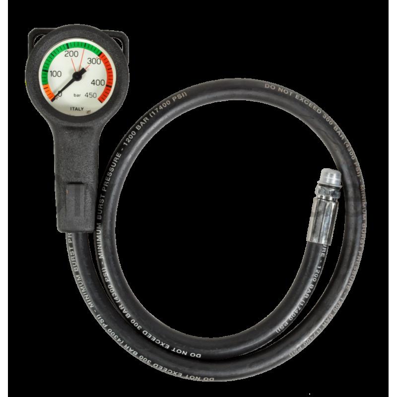 Manomètre air 0-450bars diamètre 52mm flexible 80cm