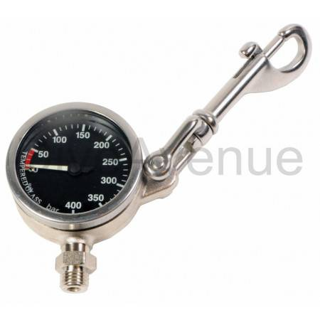 Tech manometer 400bar 52mm with SS snap hook