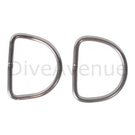 Anneau D-ring plongée inox 5cm x 5cm
