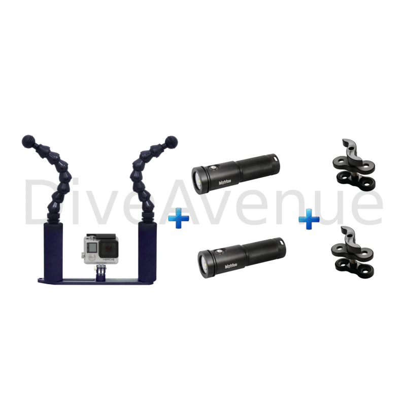 GoPro flex tray+ 2x AL2600XWP Bigblue + 2x clips