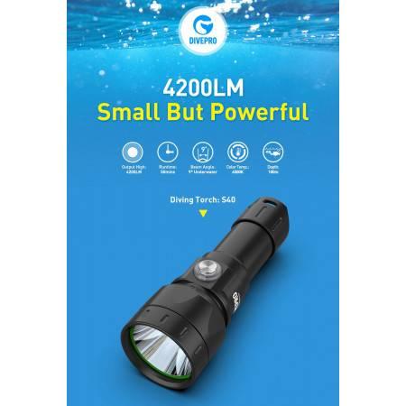 Phare de plongée DIVEPRO S40 4200Lm - 9°