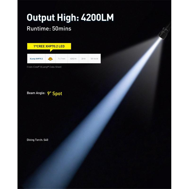 Underwater dive light DIVEPRO S40 4200Lm 9° beam