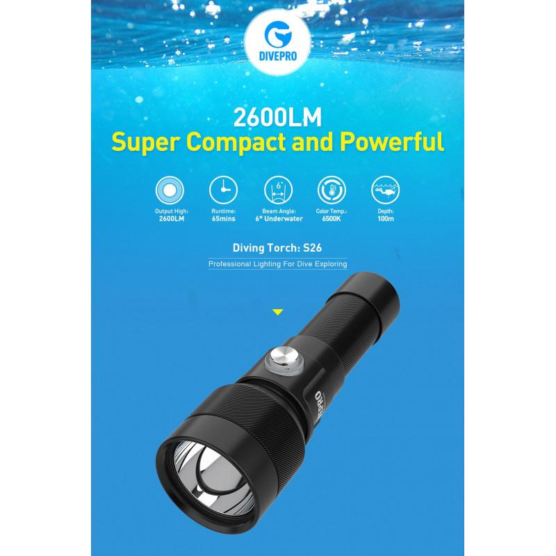 Underwater dive light DIVEPRO S26 2600Lm 6° beam