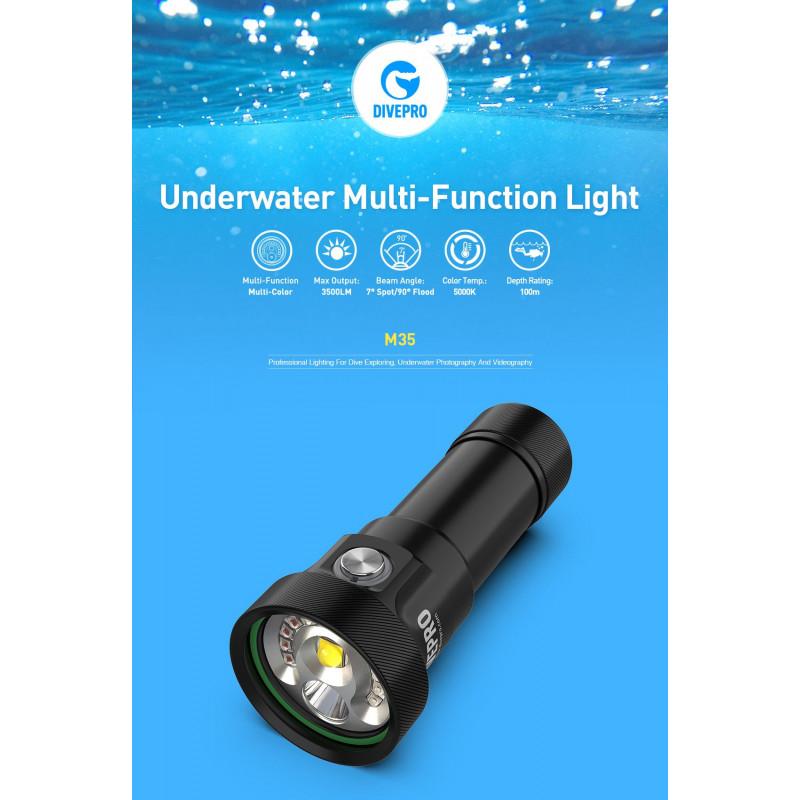 Underwater explo/video dive light DIVEPRO M35 3500Lm - 7°/90°