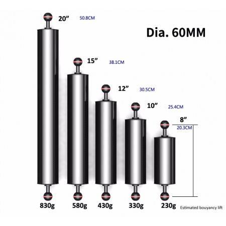 Carbon floating arm Ø60mm L20cm to 50cm DIVEPRO