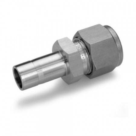Equal double union for Ø6mm tube in 316L stainless steel
