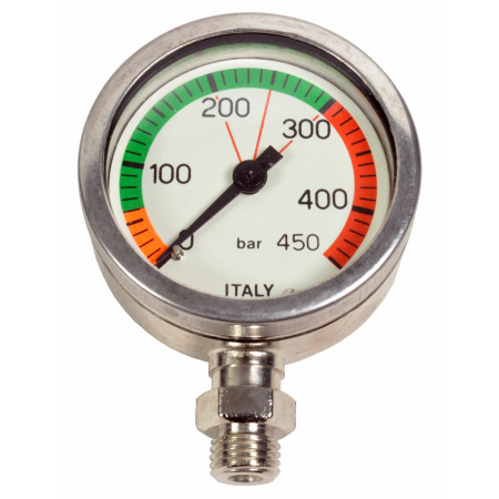 0-450bars underwater pressure gauge mineral glass