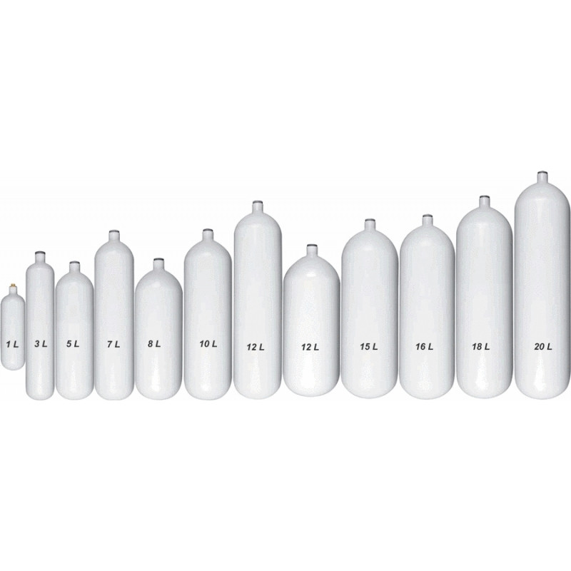7 liter steel tank 200bar naked