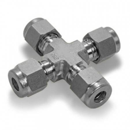 316L STAINLESS STEEL cross connector for Ø6mm HP tube