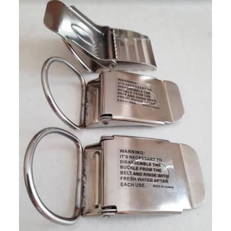 Boucle de ceinture de plomb inox à levier avec D-ring intégré