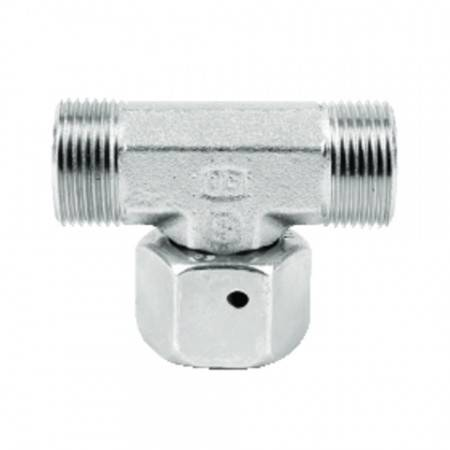 Swivel DIN female tee for 6 mm tube (500 bar)