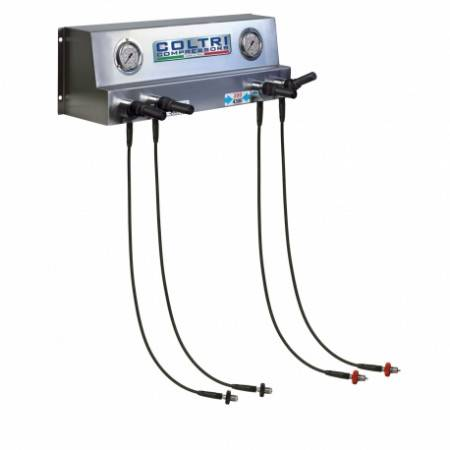 Regulated stainless steel inflation ramp with 4 outputs Joystick valve