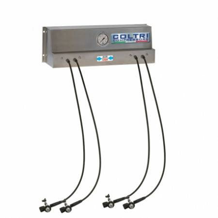 COLTRI Inox regulated inflation ramp with 4 flexible outlets and valves