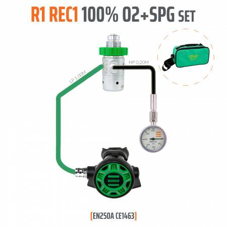 REGULATOR R1 REC1 100% O2 M26x2 with SPG TECLINE