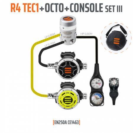 Détendeurde plongée R4 TEC1 EN250A OCTO + console 3 éléments TECLINE