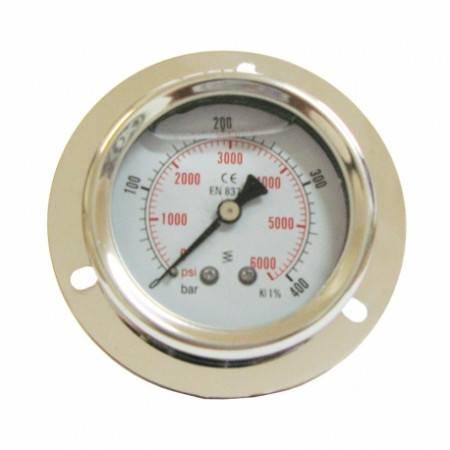 Manomètre axial 0-400 bars D63mm à glycérine et fixation collerette