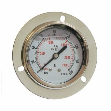 Axial pressure gauge 0-160 bar D63mm with glycerine and flange mounting