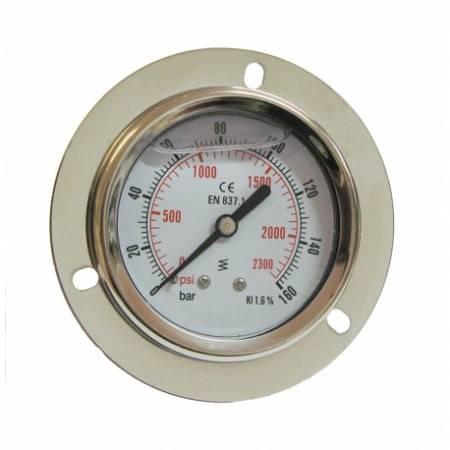 Manomètre axial 0-160 bars D63mm à glycérine et fixation collerette