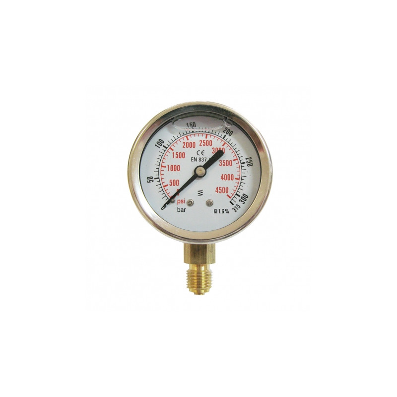 Vertical pressure gauge 0-315 bars D63mm