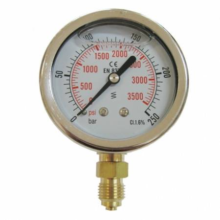 Vertical pressure gauge 0-250 bars D63mm with glycerine