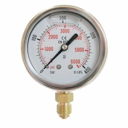 Vertical pressure gauge 0-400 bars D63mm