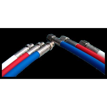 Flexible haute pression 60cm élastomère bleu blanc ou rouge